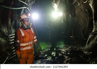 Cerro de Pasco, Peru - July 14th 2017: Miner in the mine. Miner inside the mine well uniformed with a look of confidence.