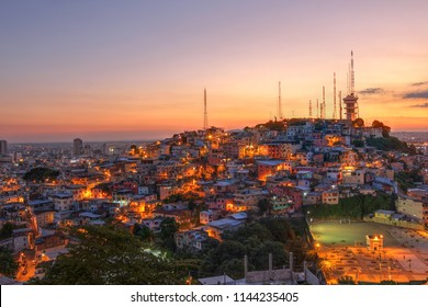 Cerro del Carmel (Carmel Hill) as seen from Cerro de Santa Ana (St. Ana Hill) at sunset, Guayaquil, Ecuador