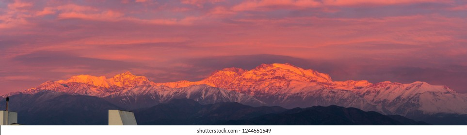 Cerro El Plomo summit at Central Andes mountain range covered with snow an amazing alpine view from the valleys to the summits such an incredible rough landscape could be found at Santiago de Chile