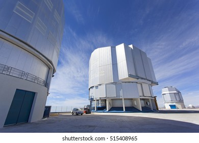 CERRO PARANAL, ATACAMA DESERT, CHILE - JAN. 15, 2016: The VLT, Very Large Telescope complex at the European Southern Observatory located on Cerro Paranal in the middle of the Atacama desert.
