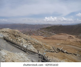 cerro rico hill with silver mines  in potosi in bolivia