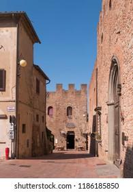 Certaldo - Italy - Tuscany 08/2018/17 - Historic center of the famous medieval village of Certaldo, in Tuscany.