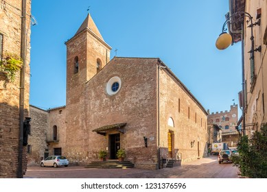 CERTALDO,ITALY - SEPTEMBER 21,2018 - View at the church of Saints Jacopo and Filippo in Certaldo. Certaldo is a town and comune of Tuscany in Italy.