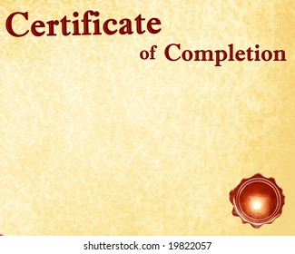 certificate of completion with a wax seal on it