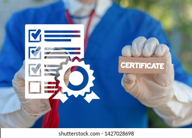 Certificate Healthcare Pharmacy concept. Pharmacist or doctor holds wooden block with certificate word and touches document with stamp icon. Quality Standard Certification Medicine.