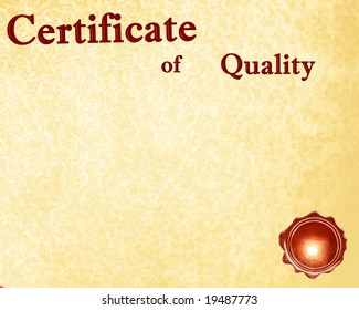 certificate of quality with a wax seal