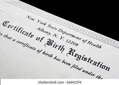 A Certificate of registration of the birth of a child.