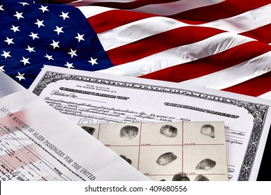 Certificate of US Citizenship, fingerprint card, Declaration of Intention and Passenger Manifest documents with American Flag