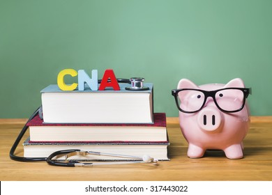 Certified Nursing Assistant CNA theme with pink piggy bank with chalkboard in the background as concept image of the costs of education