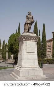 Cervantes monument in Valladolid, Castilla y Leon, Spain