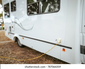 Cervantes, Western Australia - 2 September 2017 : Motorhomes pluged in to the power box at a camping site in RAC Cervantes,