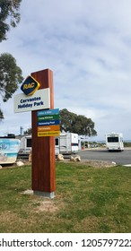 Cervantes, Western Australia - September 2, 2017 : Signboard in RAC Cervantes camp site early morning.