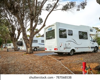 Cervantes, Western Australia - September 2, 2017 : Motor homes parked at a camping site in RAC Cervantes,