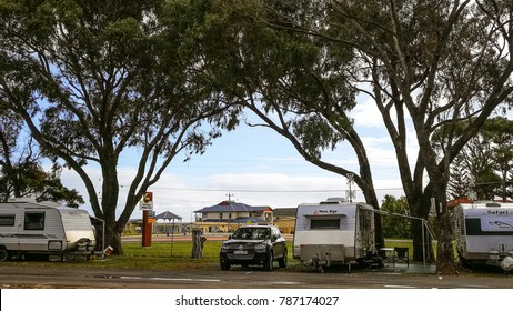 Cervantes, Western Australia - September 2, 2017 : Caravans and four wheel drive truck are parking at a camping site in RAC Cervantes,