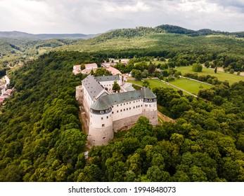 Cerveny Kamen Castle is a 13th-century castle in Slovakia. Castle with beautiful garden and park - Shutterstock ID 1994848073
