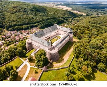 Cerveny Kamen Castle is a 13th-century castle in Slovakia. Castle with beautiful garden and park - Shutterstock ID 1994848076