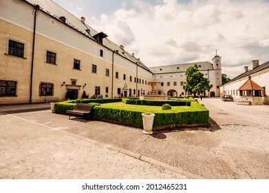 Cerveny Kamen Castle is a 13th-century castle in Slovakia. Castle with beautiful garden and park - Shutterstock ID 2012465231