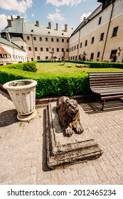 Cerveny Kamen Castle is a 13th-century castle in Slovakia. Castle with beautiful garden and park - Shutterstock ID 2012465234