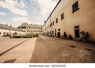 Cerveny Kamen Castle is a 13th-century castle in Slovakia. Castle with beautiful garden and park - Shutterstock ID 2012465237