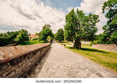 Cerveny Kamen Castle is a 13th-century castle in Slovakia. Castle with beautiful garden and park - Shutterstock ID 2012465240