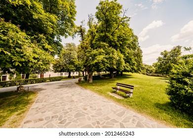 Cerveny Kamen Castle is a 13th-century castle in Slovakia. Castle with beautiful garden and park - Shutterstock ID 2012465243