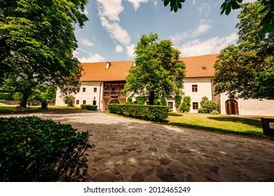 Cerveny Kamen Castle is a 13th-century castle in Slovakia. Castle with beautiful garden and park - Shutterstock ID 2012465249