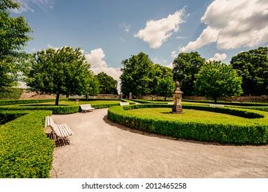Cerveny Kamen Castle is a 13th-century castle in Slovakia. Castle with beautiful garden and park - Shutterstock ID 2012465258