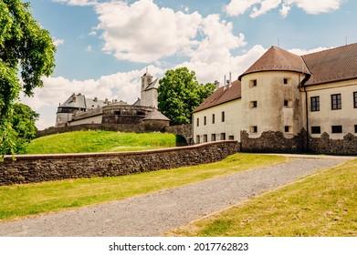 Cerveny Kamen Castle is a 13th-century castle in Slovakia. Castle with beautiful garden and park - Shutterstock ID 2017762823