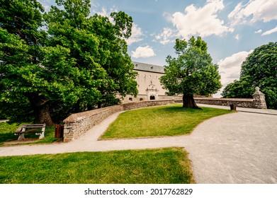 Cerveny Kamen Castle is a 13th-century castle in Slovakia. Castle with beautiful garden and park - Shutterstock ID 2017762829