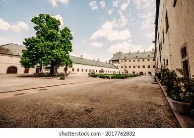 Cerveny Kamen Castle is a 13th-century castle in Slovakia. Castle with beautiful garden and park - Shutterstock ID 2017762832
