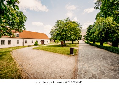 Cerveny Kamen Castle is a 13th-century castle in Slovakia. Castle with beautiful garden and park - Shutterstock ID 2017762841