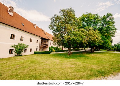 Cerveny Kamen Castle is a 13th-century castle in Slovakia. Castle with beautiful garden and park - Shutterstock ID 2017762847