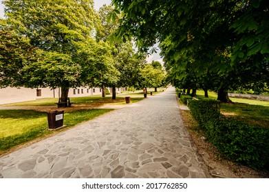 Cerveny Kamen Castle is a 13th-century castle in Slovakia. Castle with beautiful garden and park - Shutterstock ID 2017762850