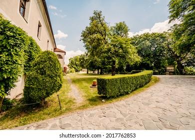Cerveny Kamen Castle is a 13th-century castle in Slovakia. Castle with beautiful garden and park - Shutterstock ID 2017762853
