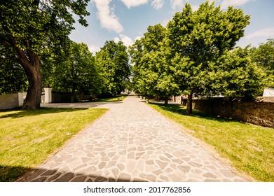 Cerveny Kamen Castle is a 13th-century castle in Slovakia. Castle with beautiful garden and park - Shutterstock ID 2017762856