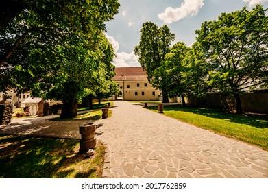 Cerveny Kamen Castle is a 13th-century castle in Slovakia. Castle with beautiful garden and park - Shutterstock ID 2017762859