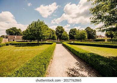 Cerveny Kamen Castle is a 13th-century castle in Slovakia. Castle with beautiful garden and park - Shutterstock ID 2017762865