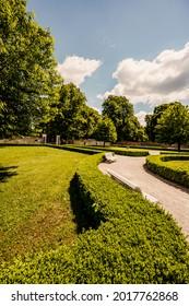 Cerveny Kamen Castle is a 13th-century castle in Slovakia. Castle with beautiful garden and park - Shutterstock ID 2017762868