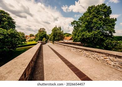 Cerveny Kamen Castle is a 13th-century castle in Slovakia. Castle with beautiful garden and park - Shutterstock ID 2026654457