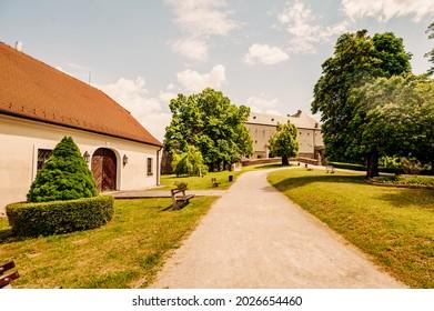 Cerveny Kamen Castle is a 13th-century castle in Slovakia. Castle with beautiful garden and park - Shutterstock ID 2026654460