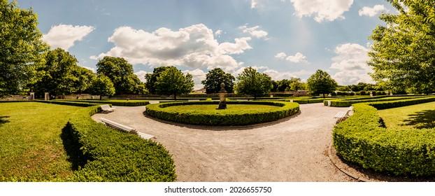 Cerveny Kamen Castle is a 13th-century castle in Slovakia. Castle with beautiful garden and park - Shutterstock ID 2026655750