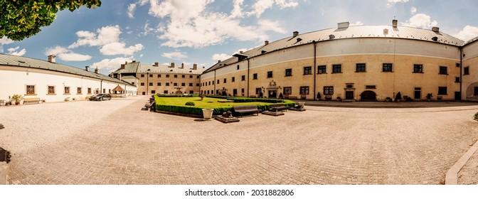 Cerveny Kamen Castle is a 13th-century castle in Slovakia. Castle with beautiful garden and park - Shutterstock ID 2031882806