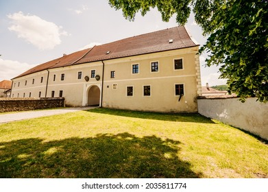 Cerveny Kamen Castle is a 13th-century castle in Slovakia. Castle with beautiful garden and park - Shutterstock ID 2035811774