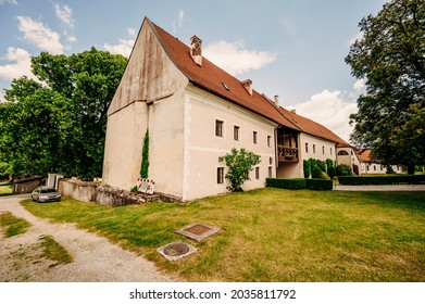 Cerveny Kamen Castle is a 13th-century castle in Slovakia. Castle with beautiful garden and park - Shutterstock ID 2035811792