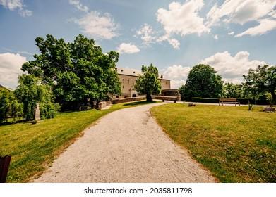 Cerveny Kamen Castle is a 13th-century castle in Slovakia. Castle with beautiful garden and park - Shutterstock ID 2035811798