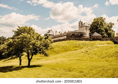Cerveny Kamen Castle is a 13th-century castle in Slovakia. Castle with beautiful garden and park - Shutterstock ID 2035811801