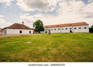 Cerveny Kamen Castle is a 13th-century castle in Slovakia. Castle with beautiful garden and park - Shutterstock ID 2040301070