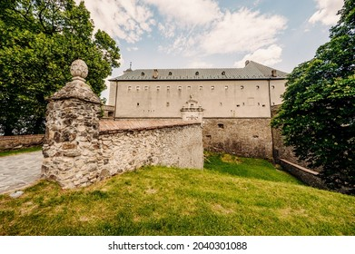 Cerveny Kamen Castle is a 13th-century castle in Slovakia. Castle with beautiful garden and park - Shutterstock ID 2040301088