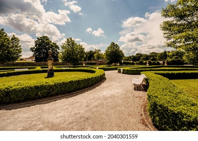 Cerveny Kamen Castle is a 13th-century castle in Slovakia. Castle with beautiful garden and park - Shutterstock ID 2040301559