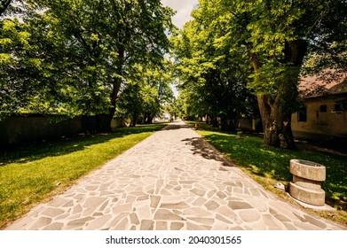 Cerveny Kamen Castle is a 13th-century castle in Slovakia. Castle with beautiful garden and park - Shutterstock ID 2040301565